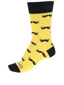 Čierno-žlté dámske ponožky s motívom fúzov Fusakle Fúzač