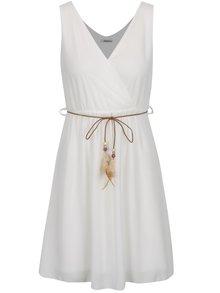 Krémové šaty s ozdobným opaskom Haily´s Mira