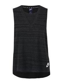 Top negru melanj cu terminatie asimetrica pentru femei Nike