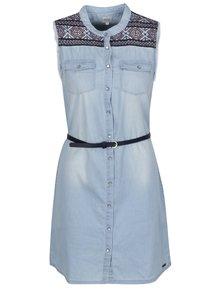 Rochie albastră din denim Pepe Jeans Lulus cu detalii