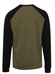 Čierno-zelené pánske tričko s nášivkou a dlhým rukávom NUGGET Module