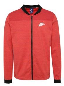 Červený žíhaný pánský mikinový bomber Nike Sportswear Advance 15