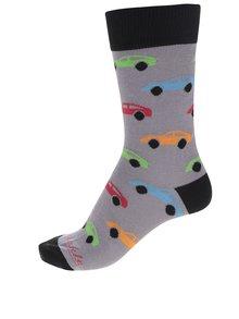 Sivé pánske ponožky s motívom áut Fusakle Autíčkár