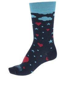 Červeno-modré dámske ponožky s motívom sŕdc Fusakle Láska z oblakov