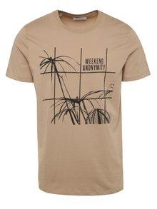 Světle hnědé triko s potiskem Selected Homme Noam