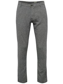 Tmavomodré melírované ľanové chino nohavice Selected Homme Paris