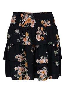 Tmavomodrá kvetovaná sukňa s volánmi Jacqueline de Yong Kayleigh