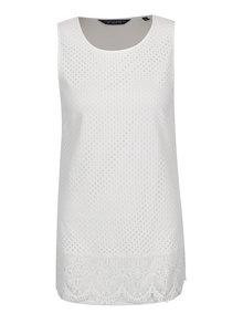 Top alb Dorothy Perkins Tall cu perforații