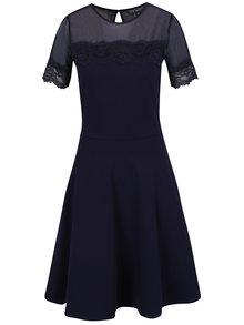 Tmavě modré šaty s průsvitnou vrchní částí Dorothy Perkins Tall