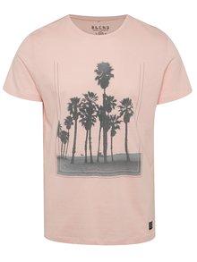 Tricou roz pal Blend din bumbac