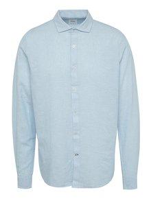 Světle modrá lněná košile s dlouhým rukávem Burton Menswear London