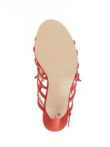 Sandale rosii Miss Selfridge cu aspect de piele intoarsa