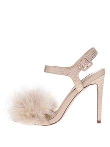 Béžové sandálky s peřím na špičce Miss Selfridge