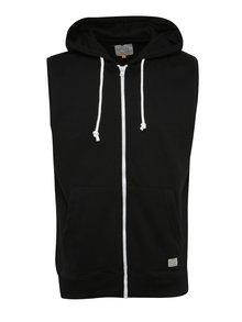 Černá vesta na zip s kapucí Blend
