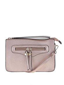 Malá crossbody kabelka/listová kabelka v ružovozlatej farbe Miss Selfridge