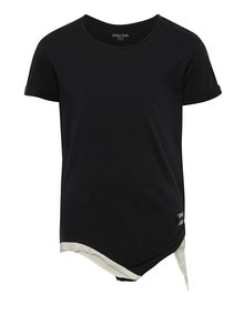 Tricou negru cu patch și tiv asimetric 3fnky kids Kind unisex