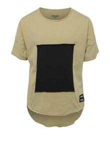 Černo-béžové dětské tričko s prodlouženým zadním dílem 3fnky kids Square