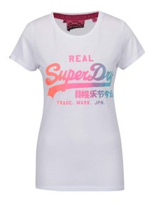 Biele dámske tričko s farebnou potlačou Superdry