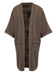 Kimono kaki cu print ornamental Miss Selfridge