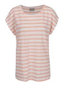 Krémovo-růžové pruhované volné tričko VERO MODA Mandy