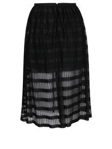 Čierna pruhovaná plisovaná midi sukňa Miss Selfridge