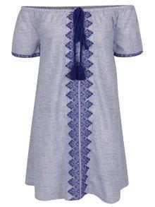 Světle modré vzorované šaty s odhalenými rameny Miss Selfridge
