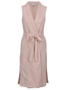 Světle růžová dlouhá vesta se zavazováním Miss Selfridge