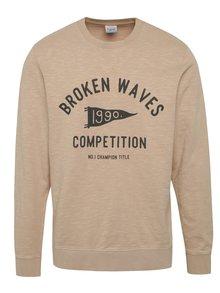 Bluză sport bej Jack & Jones Harbour cu print