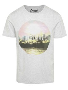 Tricou gri deschis Jack & Jones Creek cu print