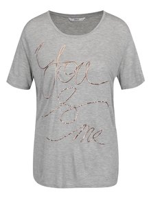 Tricou gri melanj ONLY You And Me cu print