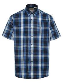 Modrá kostkovaná košile s krátkým rukávem JP 1880