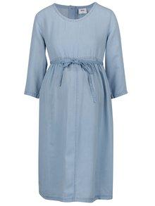 Světle modré džínové těhotenské šaty s 3/4 rukávy Mama.licious Nicki