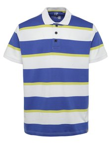 Tricou alb & albastru & galben JP 1880 cu model în dungi