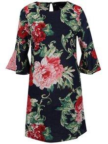 Tmavomodré kvetované šat s 3/4 zvonovými rukávmi AX Paris