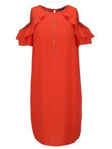Červené šaty s průstřihy na ramenou Dorothy Perkins