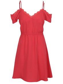 Tmavě růžové šaty s průstřihy na ramenou a krajkovým lemem VERO MODA Mille