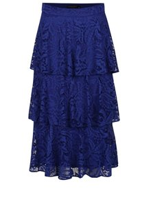 Modrá čipkovaná sukňa s volánmi Dorothy Perkins