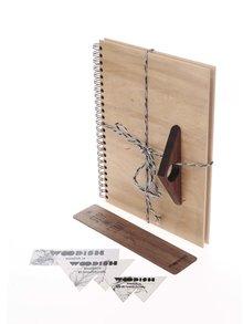 Súprava dreveného zápisníka, záložky a zarážky do knihy Woodish