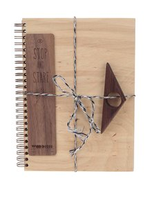 Set cu sketchbook, inel pentru citit și semn de carte Woodish Cozy Kit