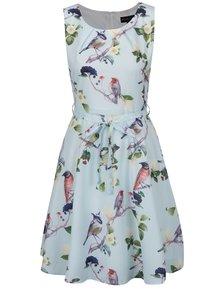 Mentolové vzorované šaty s páskem Mela London