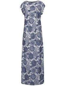 Rochie lungă alb & bleumarin Mela London cu model floral