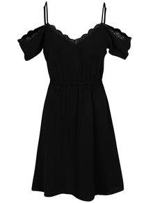 Černé šaty s průstřihy na ramenou a krajkovým lemem VERO MODA Mille
