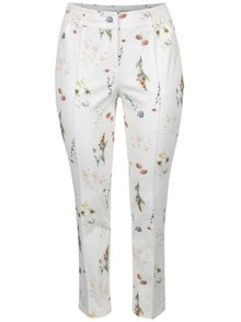 Pantaloni crem Ulla Popken cu model floral
