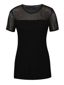 Černé puntíkované tričko s průsvitnou vrchní částí Dorothy Perkins Tall