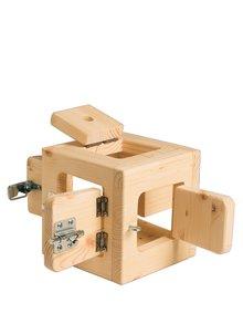 Hnědá dřevěná hračka ve tvaru kostky MORMI