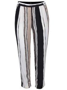 Čierno-krémové pruhované nohavice Ulla Popken