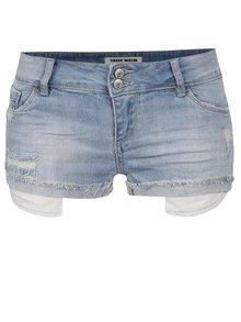 Modré džínové kraťasy s nízkým pasem a potrhaným efektem TALLY WEiJL