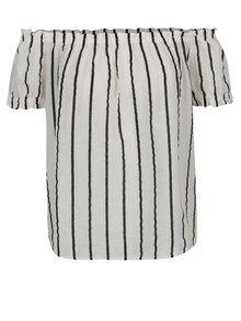Bluză crem & negru VERO MODA Stripy cu umerii goi și model în dungi