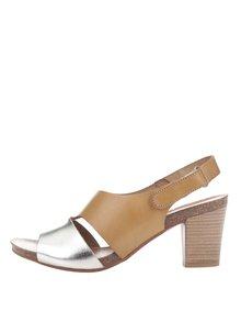 Kožené sandálky v béžové a zlaté barvě OJJU