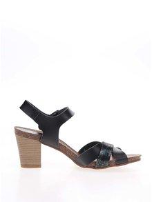 Černé kožené sandálky na nízkém podpatku OJJU